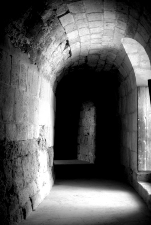 Interior hallway of the Roman amphitheater in Jerash, Jordan