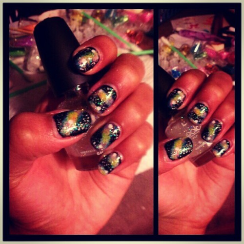 #galaxy #nails #nailart  #nailpolish #black #yellow #pink #blue #glitter
