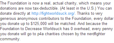 """Oh my God! I screamed in ectasy when I read this in the description of John Green's video today.  """"Thanks to very generous anonymous contributors to the Foundation, every dollar you donate up to $125,000 will be matched.""""  AHHHHHHHHHHHHH! SO AWESOME!"""
