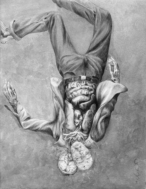 "Interior illustration by artist Santiago Caruso from Black Labyrinth Book I: ""The Walls of the Castle"" by Tom Piccirilli."