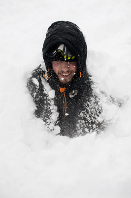 I got buried under a half meter of snow by fellow students, during an avalanche course earlier this week. Snow is heavy!