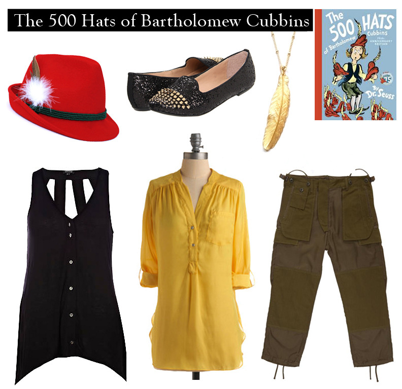 "Outfit inspired by Dr. Seuss's ""The 500 Hats of Bartholomew Cubbins"" ""It was probably the oldest and the plainest hat in the whole Kingdom of Didd, where Bartholomew Cubbins lived. But Bartholomew liked it – especially because of the feather that always pointed straight up in the air."" Red Tyrolean Hat 