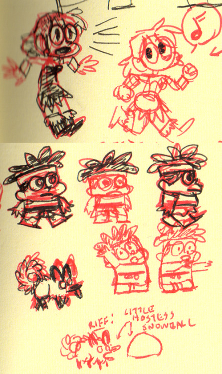 Lunchbreak doodles from my cheapo off-brand moleskine sketchbook. I'm drawing everyone all cute.