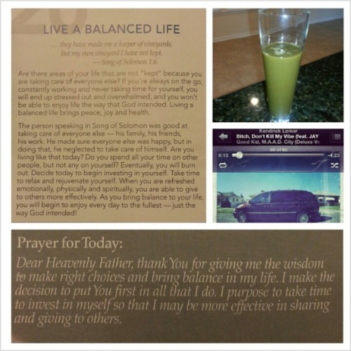 My Monday morning…green smoothie aka The Hulk. Spending time with God, going to make today great… #dontkillmyvibe #eatclean #greensmoothie