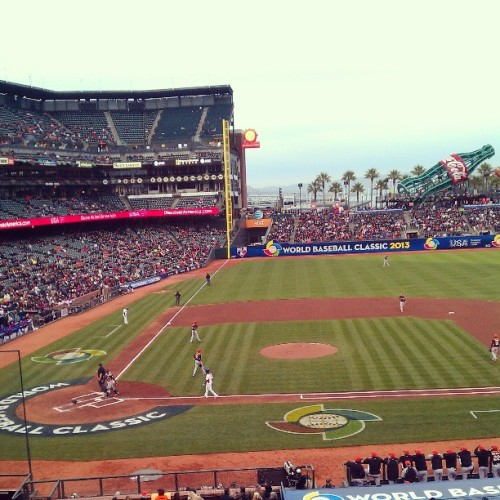 World Baseball Classic with $5 club level seats. @teek4one and @averyjna_oneflow #wbc #ballin #igot5onit
