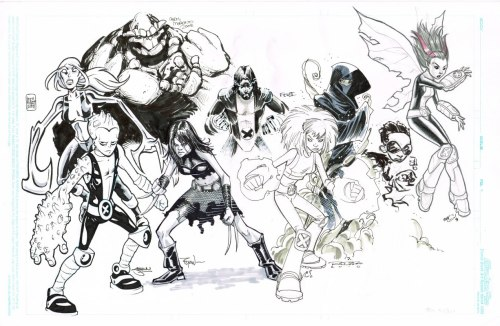 brianmichaelbendis:  New X-Men Jam piece by Ryan Ottley, Skottie Young, Khary Randolph, Freddie Williams,Craig Rousseau, Chris Moreno, Shawn Crystal, Andie Tong and Brian Hurtt.