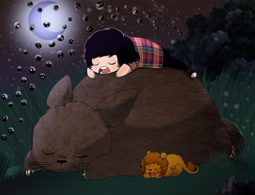 Moonlight sleep with Phil, Lion and Totoro.
