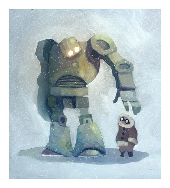 tumblwip:  storypanda:  The robot in the snow illustration by Ciaran Duffy @hellociaran It even comes with a time lapse video of its creation.  An old one.