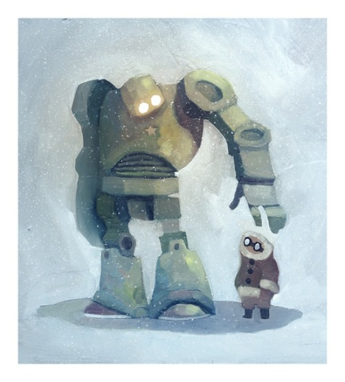 storypanda:  The robot in the snow illustration by Ciaran Duffy @hellociaran It even comes with a time lapse video of its creation.  An old one.