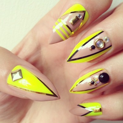 the-prettynails:  That's it! Last one of the day! I will stop whoring my creations (it's been such a long time, just been dying to get creative!) A delicious Neon x Nude combination #nails #nailart #naildesign #stilettonails #studs #neon #nude #theprettynails #fakenails #longnails the-prettynails.tumblr.com