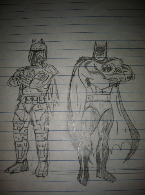 Sketch of Boba Fett and Batman