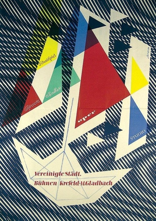 Snazzy old German Music Design Poster by Walter Breker, 1950s.