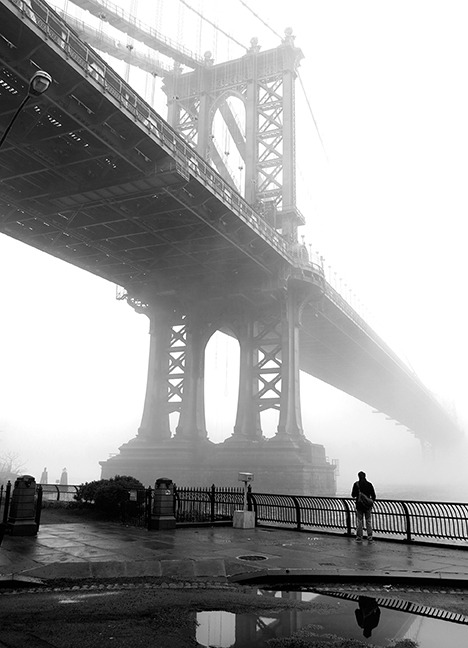 brooklyntheory:  The Manhattan Bridge Fog, DUMBO, Brooklyn