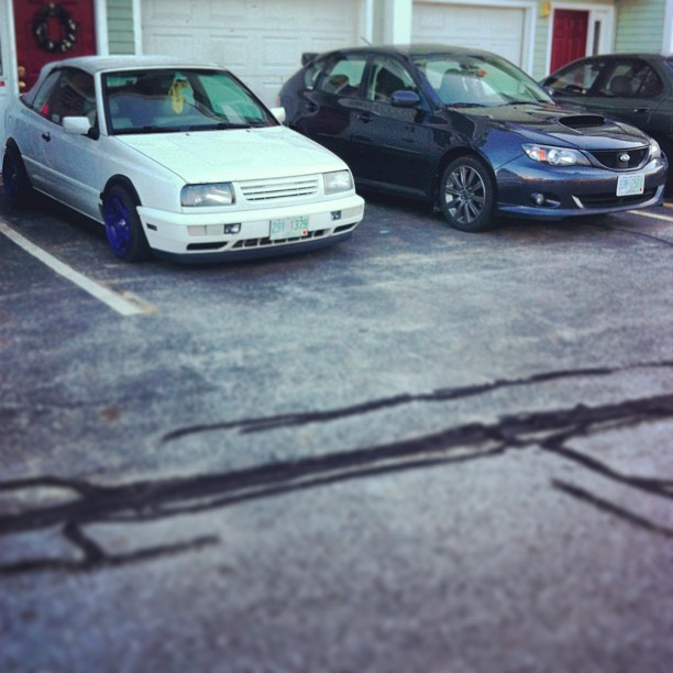 These two, like to take all my monies #subielove #cabrio #mymk3s #vw #subaru #wrx #vwlove