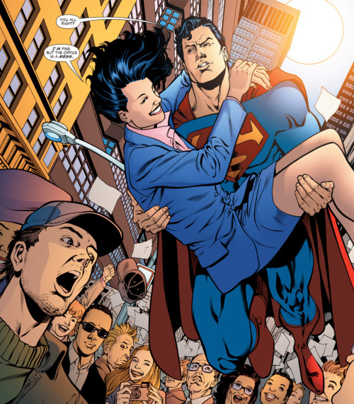 superheroes-or-whatever:  Superman & Lois JLA (1997-2006) #117 art by Chris Batista  I love Chris Batista's art so much. This is an absolutely adorable panel. <3 Isn't Lois's smile beautiful? Also, note that all the people in the background have a unique appearance and facial expression. I always really appreciate it when artists put in the effort like that.