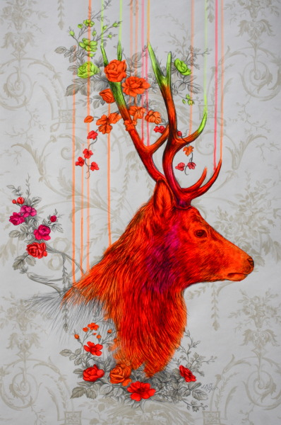 louisemcnaught:  'Wild Setting', acrylic and pencil on wallpaper, 55x65cm (2013)