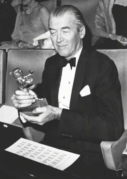 "lars134:  Jimmy Stewart at the 12th International Film Festival in Berlin, June 1962. He won this Silver Bear for his performance in ""Mr. Hobbs Takes a Vacation""."