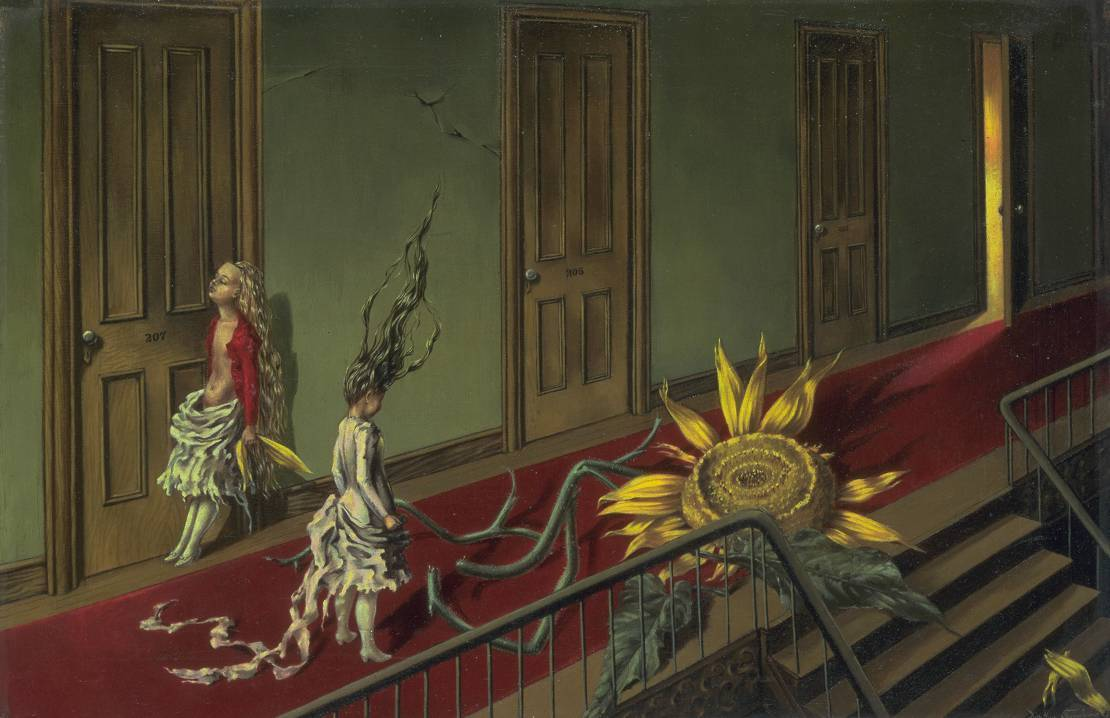 peril:  Eine Kleine Nachtmusik (1943), oil on canvas | artwork by Dorothea Tanning