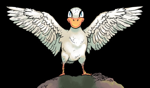 A drawing of the duck character on the back cover of Stupid Snake Book 3 (cropped, of course, there's a bit more going on there). I think I'm all done with it now.