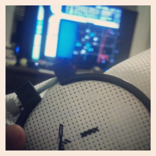Hanging out watching #tng and trying #crossstitch again. We'll see if it works this time. ;) #startrek #crafty #crafts