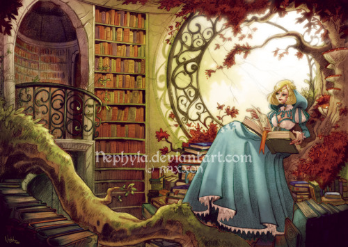 +RAXXON+The Library by *Nephyla  The finished and coloured picture of my little Library…. :3