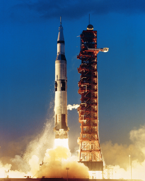 Saturn 501 - Apollo Saturn V liftoff from Complex 39A at 7 a.m. 9 November 1967 at Kennedy Space Center, Florida