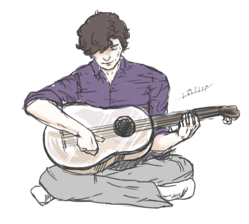 in which John replaces the violin with a guitar and Sherlock obliges