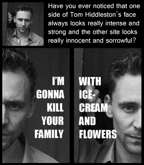 lolzpicx:  Two-face Tom Hiddleston