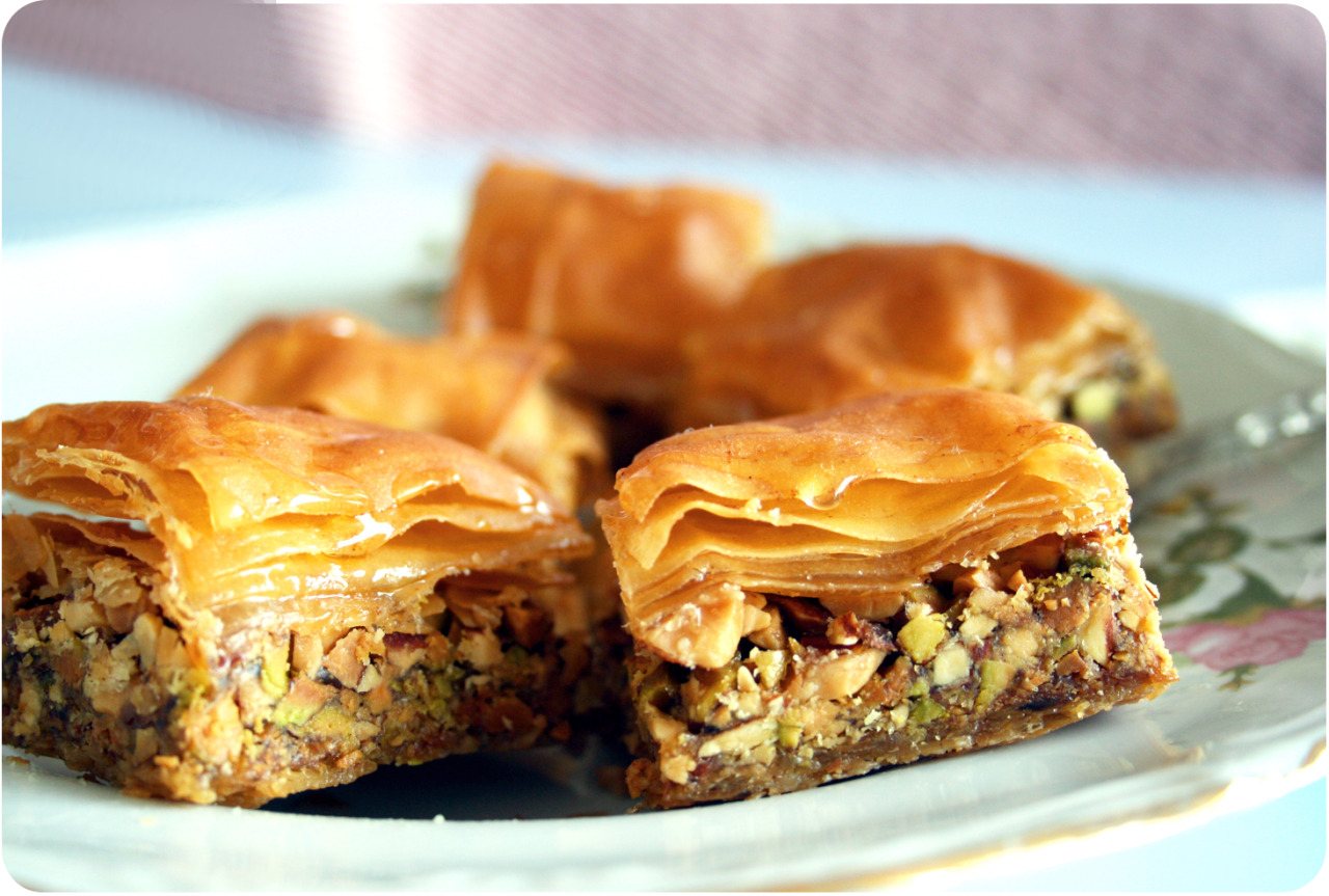 nadinebakes:  I made pistachio and almond Baklava with my sister :)  oooooh gosh why do i do this to myself!