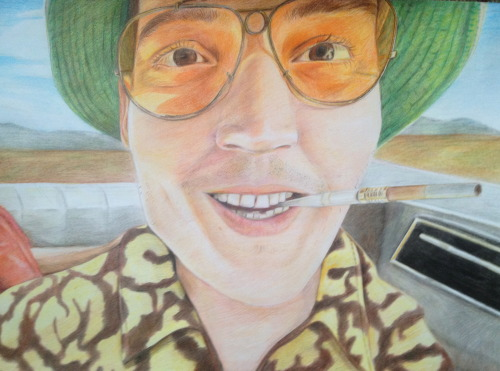 fear and loathing in las vegas A2 colouring pencils