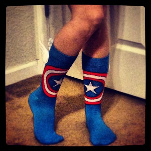 My #socks protecting my feet from the cold. 💙 #captainamerica #marvel