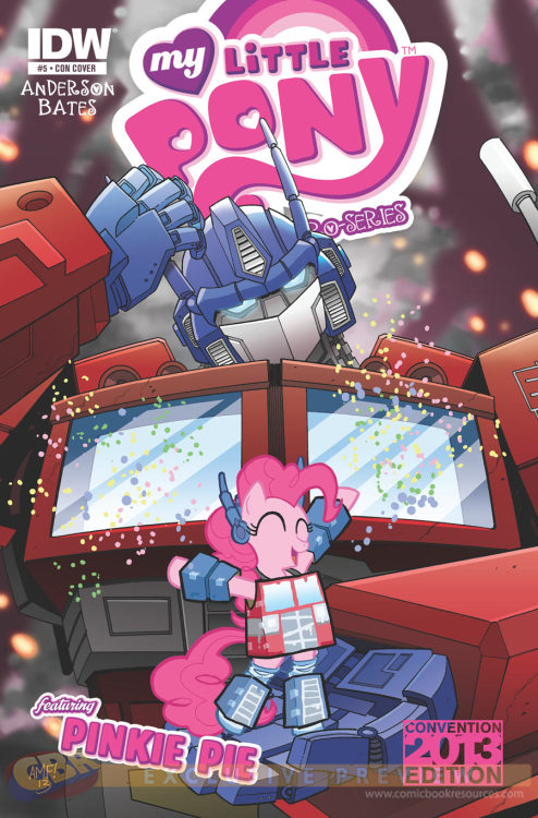 """…Tony Fleecs' Botcon-exclusive variant cover for ""My Little Pony Micro Series"" #5 featuring Pinkie Pie. In an unprecedented crossover between Hasbro's ""Transformers"" and ""My Little Pony: Friendship is Magic,"" Pinkie Pie cosplays as Optimus Prime, dancing on the massive hand of the Big Bot himself, as he gives a quizzical tilt of his head. The variant cover will be available at this year's Transformers Botcon in San Diego from June 27 - 30. The regular issue of ""My Little Pony Micro Series"" #5 written by Ted Anderson with interiors by Ben Bates hits stores June 26.""  Well… That's just Pie"
