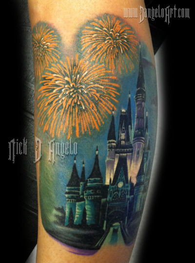 Disneys cinderella castle and fireworks done by artist Nick D'Angelo