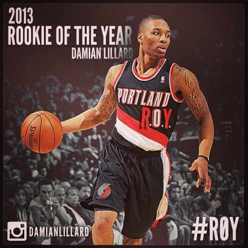 It was an obvious choice. Congrats to @damianlillard and also the @nbatrailblazers for landed such a player. Favorite PG playing for my favorite team #ROY #Quickaintfair #ROMtimes6 #lillardthebeast