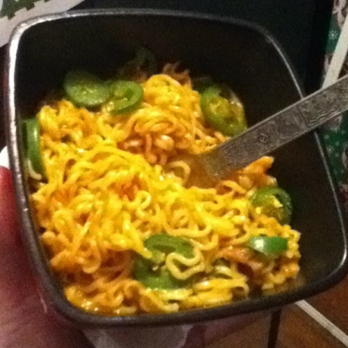 Spicy jalapeño cheesy Asian noodles!  Love u babies..
