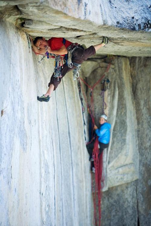 Pro Climbers International Pro Tip #9 by Tommy Caldwell: If you aspire to climb in the mountains, or do any kind of multi pitch exploration, it is necessary to to become a Blue Collar Climber. Blue collar climbing is anything wide, dirty, wet, or more non traditional. Most people are intimidated by it and therefore never do it. More than anything else, it takes a willingness to venture into the ugly. Just put on a helmet and stuff your body in that gnar. Use your hips and shoulders, butt, forehead…whatever get you up there! If you can do this, a whole world of big climbs will open up to you!