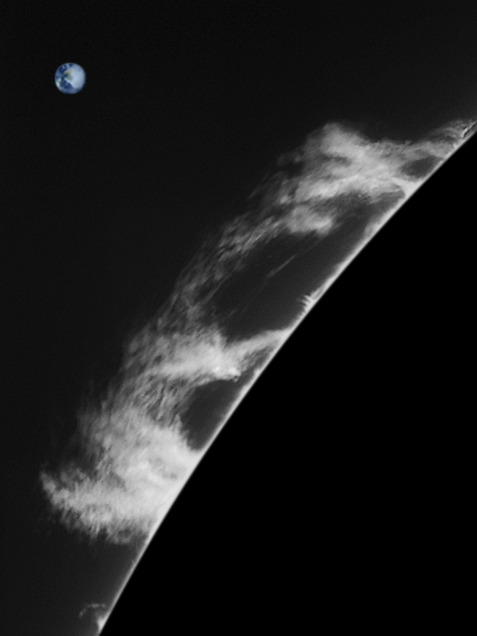 How Big? Stuff on the sun is BIG, but how big? Well, take these prominences, captured on an active sun back in 2006… you can only see a little bit of the disk but using photoshop you can select a circle and enlarge it big enough so its outside edge matches up with the section we can see. Measure the size of that circle in pixels and then divide the number by 109 (the number of earth disks that fit across the diameter of the sun). Make a circle that size and you have drawn the earth to scale - a yardstick 8000 miles across.
