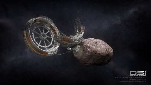 "sagansense:  Asteroid-Mining Project Aims for Deep-Space Colonies image: An artist's concept of a wheel habitat under construction at an asteroid, a vision of space settlement by the asteroid-mining company Deep Space Industries. CREDIT: Deep Space Industries A new asteroid-mining company launched Tuesday with the goal of helping humanity expand across the solar system by tapping the vast riches of space rocks. The new firm, called Deep Space Industries, Inc., announced today (Jan. 22) that it plans to launch a fleet of prospecting spacecraft in 2015, then begin harvesting metals and water from near-Earth asteroids within a decade or so. Such work could make it possible to build and refuel spacecraft far above our planet's surface, thus helping our species get a foothold in the final frontier. ""Using resources harvested in space is the only way to afford permanent space development,"" Deep Space CEO David Gump said in a statement. Deep Space Industries will hold a press conference today in Santa Monica, Calif., at 10 a.m. PST (1 p.m. EST/1800 GMT) to unveil more details of its bold mission plan; you can watch the webcast live here at SPACE.com. ""More than 900 new asteroids that pass near Earth are discovered every year,"" Gump explained. ""They can be like the Iron Range of Minnesota was for the Detroit car industry last century — a key resource located near where it was needed. In this case, metals and fuel from asteroids can expand the in-space industries of this century. That is our strategy."" [Deep Space Industries' Asteroid-Mining Vision in Photos] Deep Space is the second company to jump into the asteroid-mining business. The first, the billionaire-backed firm Planetary Resources, had its own unveiling last April. Prospecting spacecraft and asteroid sample-return Deep Space will inspect potential mining targets with 55-pound (25 kilograms) spacecraft it calls Firefly, the first of which are targeted for launch in 2015. Fireflies will conduct asteroid reconnaissance on the cheap. They'll be made from low-cost ""cubesat"" components and will hitch a ride to space aboard rockets that also carry large communications satellites, Deep Space officials said. ""We can make amazing machines smaller, cheaper and faster than ever before,"" Deep Space chairman Rick Tumlinson said in a statement. ""Imagine a production line of Fireflies, cocked and loaded and ready to fly out to examine any object that gets near the Earth."" The Firefly fleet's work will pave the way for 70-pound (32 kg) spacecraft called Dragonfly, which will blast off beginning in 2016. These Dragonflies will bring asteroid samples back to Earth during missions that last two to four years. Some samples will help the company determine mining targets, while others will probably be sold to researchers and collectors, officials said. The public will get to fly along with both probes, whose activities will likely be funded in some measure by corporate sponsorship, Deep Space officials said. ""The public will participate in Firefly and Dragonfly missions via live feeds from Mission Control, online courses in asteroid mining sponsored by corporate marketers and other innovative ways to open the doors wide,"" Gump said. ""The Google Lunar X Prize, Unilever and Red Bull each are spending tens of millions of dollars on space sponsorships, so the opportunity to sponsor a Firefly expedition into deep space will be enticing."" Building and refueling spacecraft off Earth These activities are all precursors to Deep Space's ultimate goal, which is the harvesting and in-space utilization of asteroid resources. The company intends to begin extracting metals and other building materials from space rocks within 10 years, officials said. These components will first be used to build communications satellites off-Earth, with the construction of space-based solar power stations coming later. Precious metals such as platinum will also be delivered to Earth for terrestrial use. Deep Space's construction activities will be aided by a patent-pending 3D printer called the MicroGravity Foundry, officials said. ""The MicroGravity Foundry is the first 3D printer that creates high-density, high-strength metal components even in zero gravity,"" company co-founder and MicroGravity Foundry inventor Stephen Covey said in a statement. ""Other metal 3D printers sinter powdered metal, which requires a gravity field and leaves a porous structure, or they use low-melting point metals with less strength."" Deep Space Industries will also focus on extracting asteroid water, which can be split into its constituent hydrogen and oxygen — the chief components of rocket fuel. The company's mining efforts could thus lead to the establishment of in-space ""gas stations"" that allow satellites and journeying spacecraft to top up their tanks relatively cheaply and efficiently. ""We will only be visitors in space until we learn how to live off the land there,"" Tumlinson said. ""This is the Deep Space mission — to find, harvest and process the resources of space to help save our civilization and support the expansion of humanity beyond the Earth — and doing so in a step-by-step manner that leverages off our space legacy to create an amazing and hopeful future for humanity."" Deep Space Industries' ambitions are similar to those of Planetary Resources, which also plans to tap asteroid metals and water to help open the solar system up to exploration and exploitation. Planetary Resources could prove to be a tough competitor. It was founded by private-spaceflight pioneers Peter Diamandis and Eric Anderson, and its deep-pocketed investors include Google execs Larry Page and Eric Schmidt. WATCH: Planetary Resources Unveils Asteroid-Hunting Telescope"