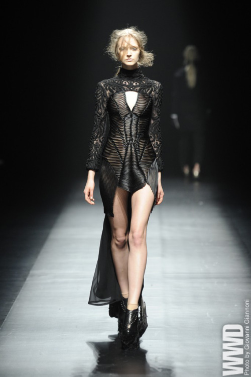 womensweardaily:  Christian Dada RTW Fall 2013 Designer Masanori Morikawa often veers into macabre territory and this season was no exception. For More For all WWD.com's Tokyo Fashion Week Coverage