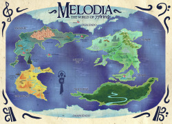 Melodia needed a better world map than the one in Volume 1… so here you go!