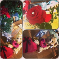 My baby's valentines gifts yesterday. I love you boo ❤ #instacollage #valentines #love #girlboy #inlove #rose #teddy #chocolates