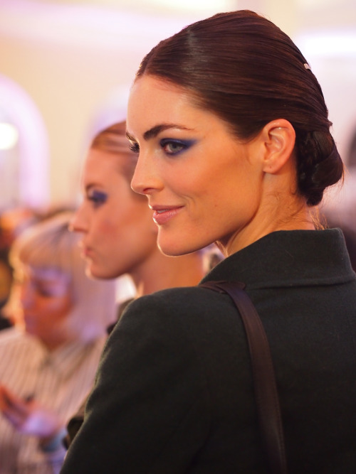 Hilary Rhoda shows off the full Jason Wu hair and make up look backstage.