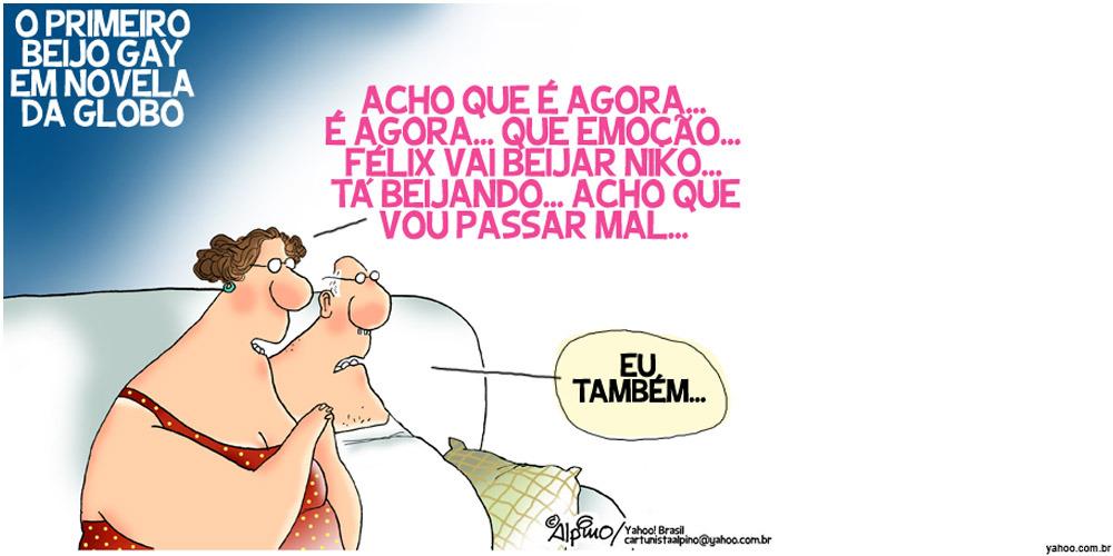 Charge: Félix, Niko e o 1º beijo gay em novela da Globo