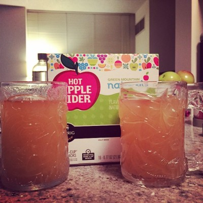 First apple ciders of the season. Thanks to #Keurig and our glass #Batman mugs. #autumn #fall #yum