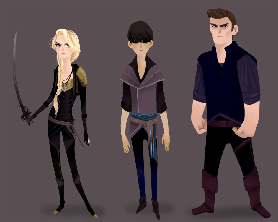 Characters from the novel Throne of Glass.  Champions — Ardarlan's assassin Celaena Sardothian, The theif Nox Owen, and former soldier Cain.   Part 2 of 5.