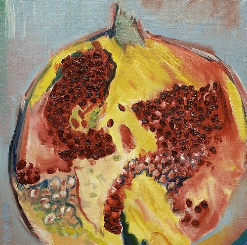 Grigorii Pavlychev Still Life with Pomegranate 2013 (a note about today's posts)