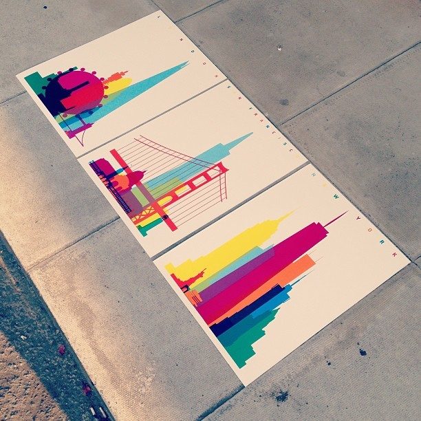 danmatherscreenprint:  Finished set of #screenprint for @yonialter. London, SF & NYC. All 8-colour, A2 x50 http://bit.ly/12bcHZy  #FreelifeVellum