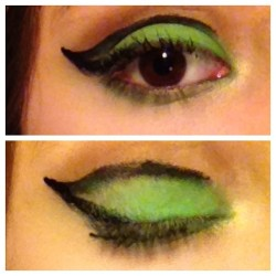 My late night attempt #makeup #eyes #liner #green #black #me #face #eye