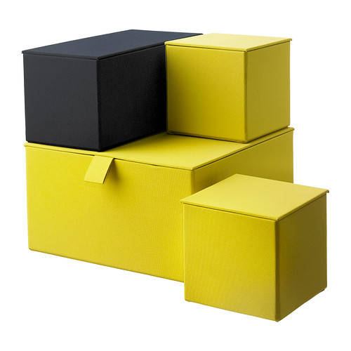(via PALLRA Set di 4 scatole con coperchio - giallo scuro - IKEA)