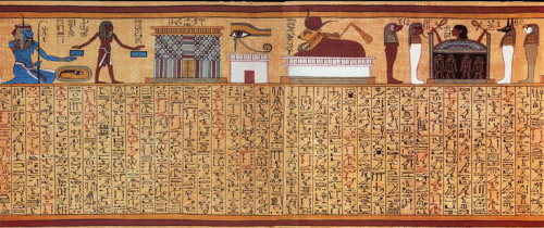 nonstopdeath:  The mystical Spell 17, from the Papyrus of Ani. The vignette at the top illustrates, from left to right, the god Heh as a representation of the Sea; a gateway to the realm of Osiris; the Eye of Horus; the celestial cow Mehet-Weret; and a human head rising from a coffin, guarded by the four Sons of Horus.